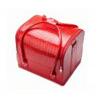 Бьюти кейс для косметики из кожи крокодила Crown Cosmetics 2-1010-8 Красный