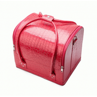 Бьюти кейс для косметики из кожи крокодила Crown Cosmetics 2-1010 Розовый