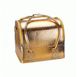 Бьюти кейс для косметики из кожи крокодила Crown Cosmetics 2-1010 Золотая патина