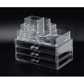 Акриловый органайзер для косметики прозрачный комод+стойка 5-1001-8