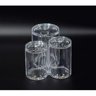 Контейнер для ватных дисков и палочек тройной с крышкой 5-1015-4