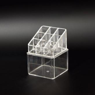 Акриловый органайзер для косметики 9 слотов (3 x 3) с контейнером 5-1033-1