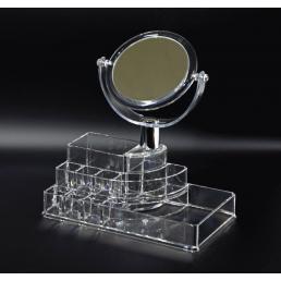 Акриловый органайзер стойка 9 слотов для косметики с зеркалом 9-1001-6