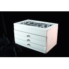 Деревянная шкатулка 3 ящика 3-1091-1 «Звезды в терновнике» Белая
