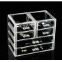Акриловый органайзер для косметики прозрачный комод+стойка 5-1038-3