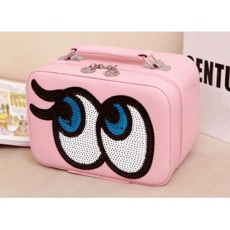"""Кожаный кейс для косметики с зеркалом """"Глазки"""" 4-1012-8 Нежно-розовый"""