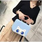"""Кейс чемоданчик для косметики """"Котик с голубыми глазками"""" 4-1027-5 Небесно-голубой"""