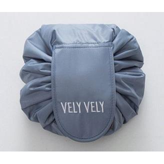 Вместительная косметичка на затяжке Vely Vely 1-1030 Темно-серая