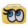 """Кожаный кейс для косметики с зеркалом """"Глазки"""" 4-1012-1 Желтый"""