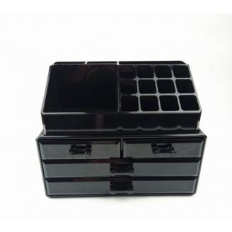Акриловый органайзер для косметики черный комод+стойка 5-1001-2