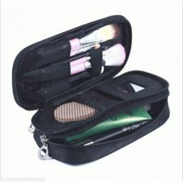 Компактная косметичка органайзер с 2-мя отделениями и зеркалом 8-1001-2 Черная