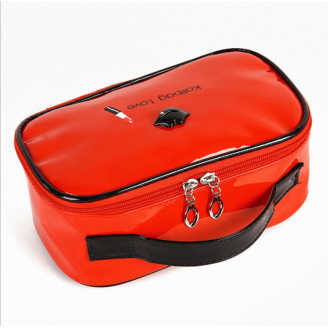 Косметичка шкатулка из лакированной кожи Kalibag Love c губками 3-1050-3 Красная