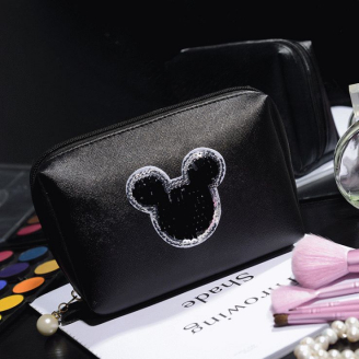 Косметичка Mickey застежка с жемчужиной 4-1009-3 Черная