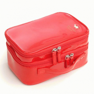 Большая косметичка органайзер из лаковой кожи с 2-мя отделениями 8-1003-1 Красная