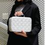 Кожаный кейс для косметики со стразами (с прошивкой) 4-1026-4 Серебристый