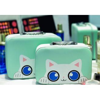 """Кейс чемоданчик для косметики """"Котик с голубыми глазками"""" 4-1027-3 Мятный зеленый"""