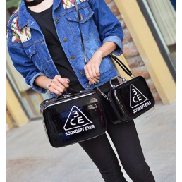 Зеркальный кейс чемоданчик для косметики 3 Concept Eyes с ремнями-фиксаторами 4-1024-2 Черный лаковый