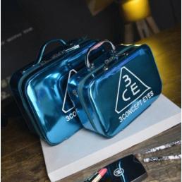 Зеркальный кейс чемоданчик для косметики 3 Concept Eyes с ремнями-фиксаторами 4-1024-7 Голубой