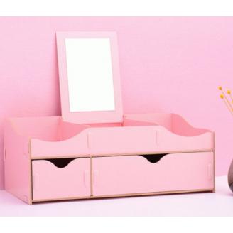 Сборный органайзер для косметики с зеркалом(2 ящика) 5-1075-3 Розовый