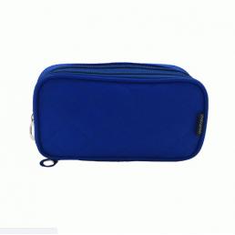 Компактная косметичка органайзер с 2-мя отделениями и зеркалом 8-1001-8 Синяя