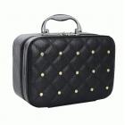 Кожаный кейс для косметики со стразами (с прошивкой) 4-1026-1 Черный