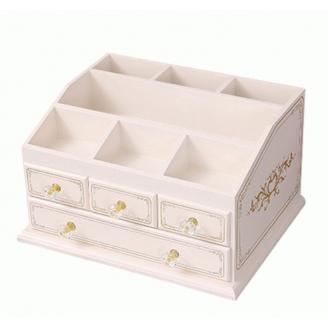 Деревянный органайзер для косметики 5-1070-2 Слоновая кость/роспись серебром (уценка)