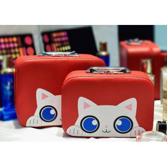 """Кейс чемоданчик для косметики """"Котик с голубыми глазками"""" 4-1027-4 Красный"""