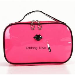 Косметичка шкатулка из лакированной кожи Kalibag Love c губками 3-1050-5 Розовая
