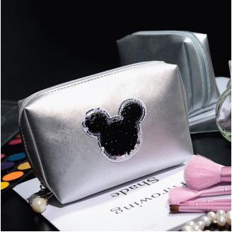 Косметичка Mickey застежка с жемчужиной 4-1009-4 Серебристая
