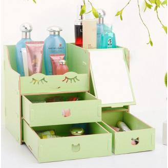 Сборный органайзер для косметики с зеркалом (3-4 ящика) 5-1073-2 Зеленый