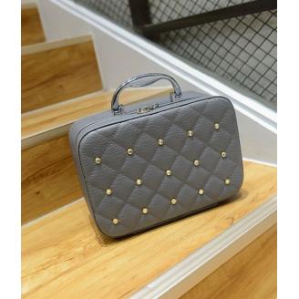 Кожаный кейс для косметики со стразами (с прошивкой) 4-1026-2 Серый