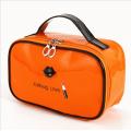 Косметичка шкатулка из лакированной кожи Kalibag Love c губками 3-1050-2 Оранжевая