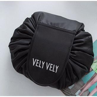 Вместительная косметичка на затяжке Vely Vely 1-1030 Черная