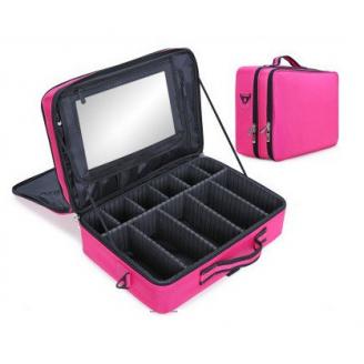 Большой профессиональный косметический кейс органайзер визажиста 2-1003 Ярко-розовый