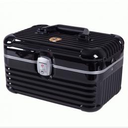 Дорожный кейс сундучок для косметики с замком из ABS пластика и алюминия 6-1003-3 Черный