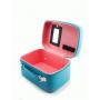 """Кожаный кейс для косметики с зеркалом """"Глазки"""" 4-1012-3 Голубой"""