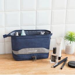 Большая косметичка с двойным дном Travel Bag темно-синяя 1-1043-1
