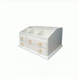 Деревянный органайзер для косметики 5-1068-1 Белый/фурнитура акрил.(уцененный, скидка 60%)