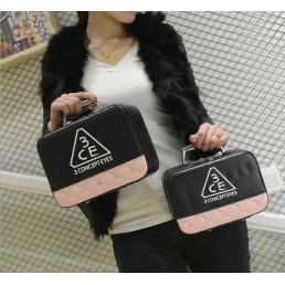 Двухцветный кейс чемоданчик 3 Concept Eyes со стразами 4-1022-1 Черный-розовый