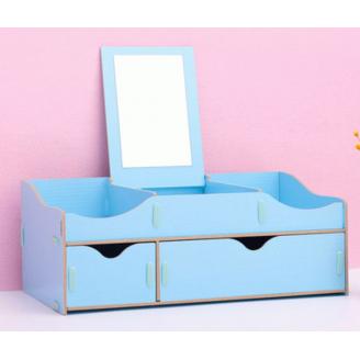 Сборный органайзер для косметики с зеркалом(2 ящика) 5-1075-1 Голубой