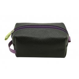 Косметичка пенал из натуральной кожи Dimanche Mumi черная/пурпур