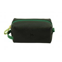 Косметичка пенал из натуральной кожи Dimanche Mumi черная/зеленый