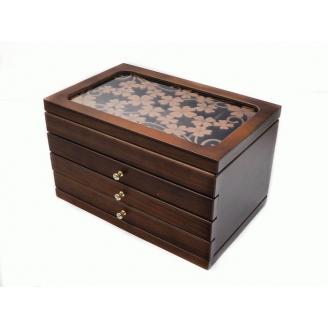 Деревянная шкатулка «Счастливый листок» 3 ящика 3-1087-1 Орех