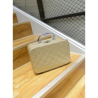 Кожаный кейс для косметики со стразами (с прошивкой) 4-1026-5 Золотистый