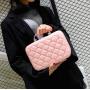 Кожаный кейс для косметики со стразами (с прошивкой) 4-1026-7 Нежно-розовый