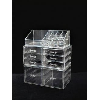 Акриловый органайзер для косметики прозрачный комод+стойка 5-1086-1