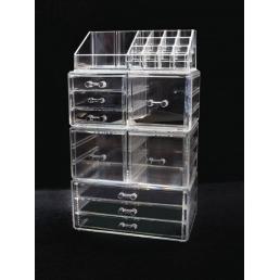 Акриловый органайзер для косметики прозрачный комод+стойка 5-1087-1