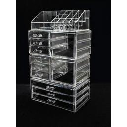 Акриловый органайзер для косметики прозрачный комод+стойка 5-1089-1